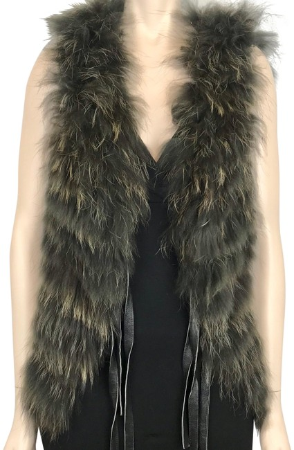 Item - Black Grey Rabbit Fox Fur Satin & Lace Lining Vegan Vest Size 8 (M)