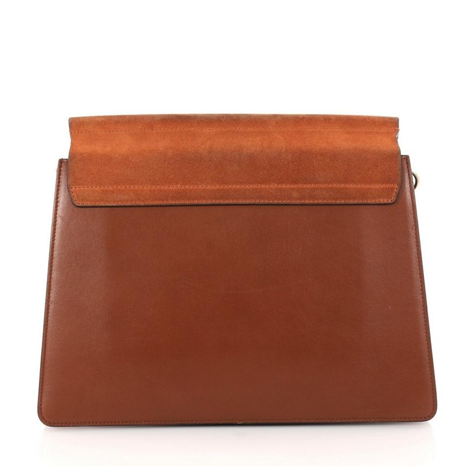 Light Orange Leather and Suede Chloé Medium Faye Brown Bag Shoulder Burnt xHqaA0Ptw