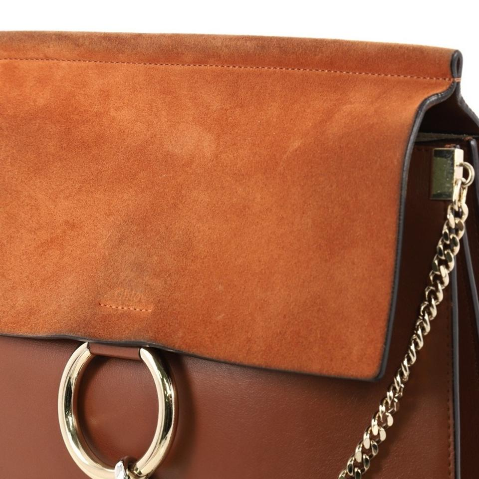 Brown Burnt Shoulder Chloé and Light Medium Faye Bag Suede Leather Orange wwxCqSp