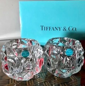 Tiffany & Co. Clear W Pair Of Crystal Rock Cut Votive / Tea Light Holders New W/ Packaging Decoration