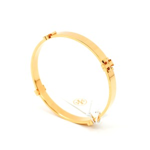 Tory Burch T Logo Gold Tone Bangle Bracelet
