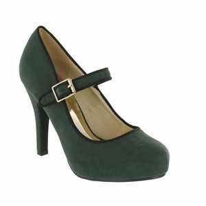 Red Circle Footwear Mary Jane Heels Green Pumps