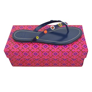 Tory Burch Blue Terra Size 9 Leather Navy Sea Sandals