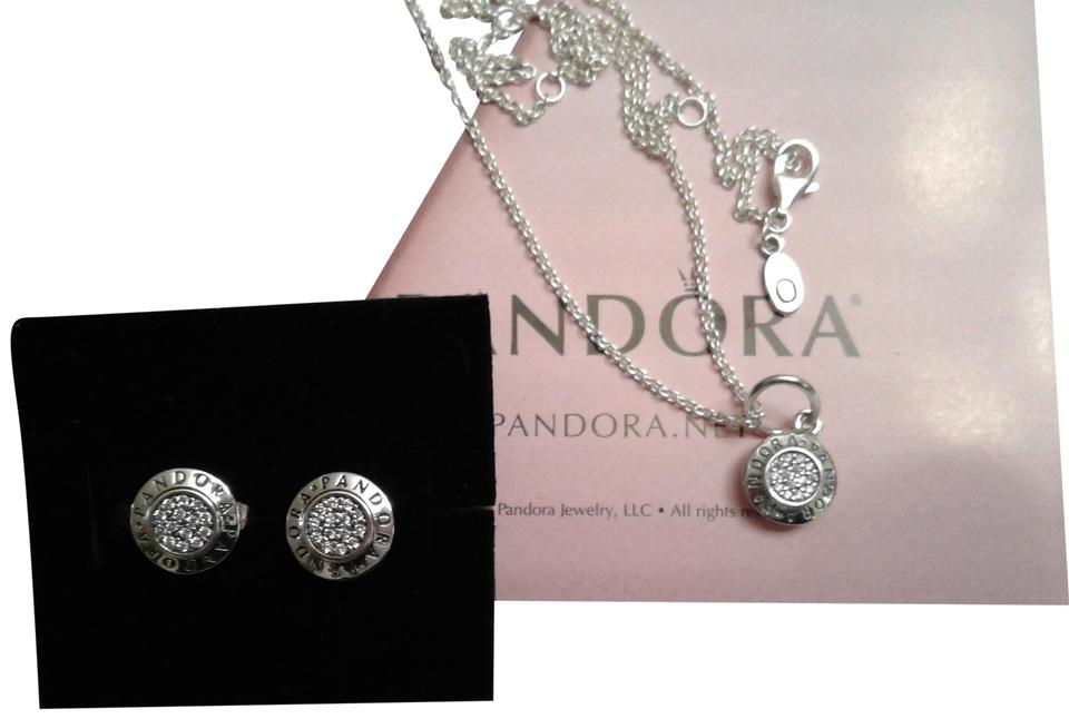 6469a57e1 PANDORA A3 pieces authentic Pandora signature earring, charm and chain set.