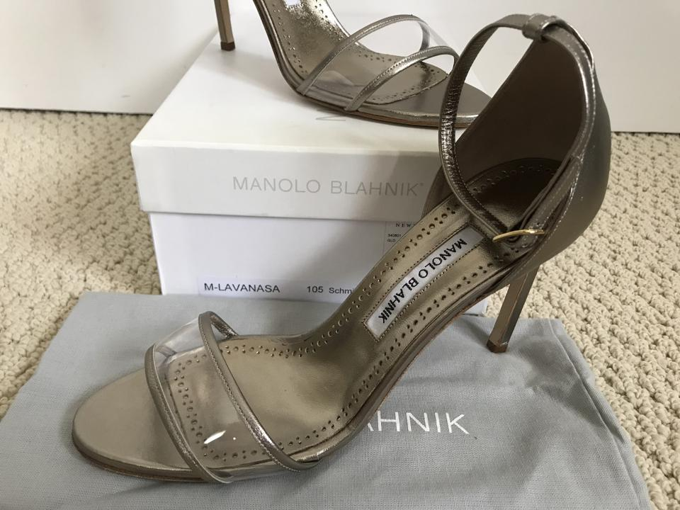 1896efeeb72 Manolo Blahnik Pvc Leather Ankle Strap Dark Gold Clear Sandals Image 11.  123456789101112