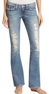 True Religion Low Rise Distressed Flare Leg Jeans-Distressed