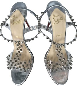 Christian Louboutin Studded Stiletto Open Toe Clear Pumps