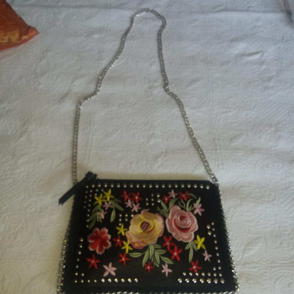 Urban Expressions Helen Clutch Black With Floral Embroidery In Pink
