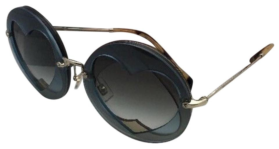 fc1aa1974e8c Miu Miu New Smu 01s Va0-0a7 62-14 Gold Tortoise W  Brown Blue Hearts ...