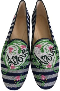 Charlotte Olympia Smoking Slipper Floral Embroidered Navy Green Flats
