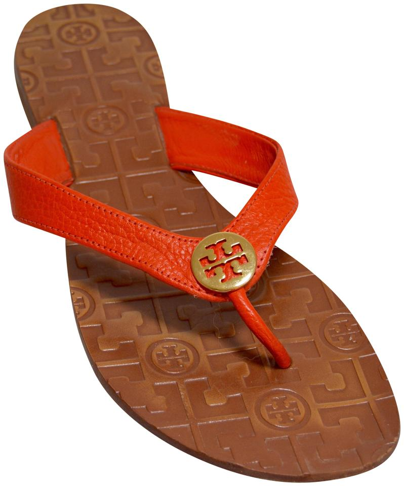 24da21ffa Tory Burch Orange Thora Grained Leather Thong Sandals Flats Size US ...