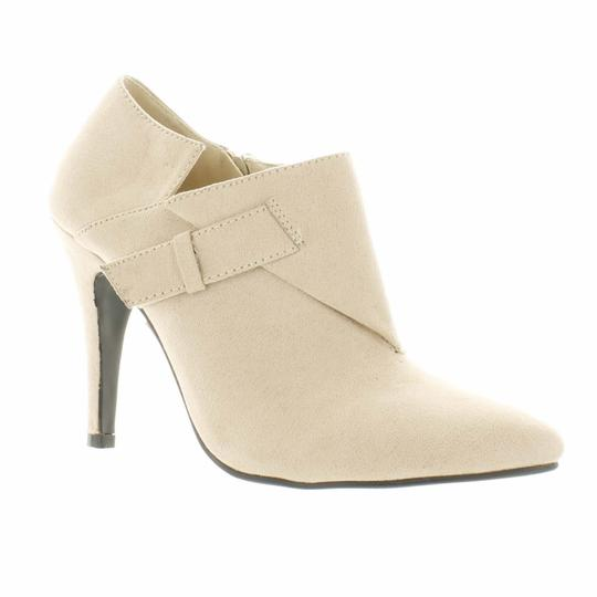 Red Circle Footwear Pointy Heels Nude Boots Image 1