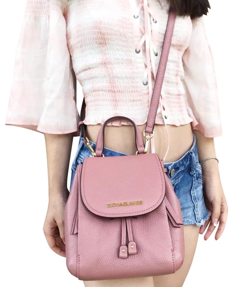 16c08a15bea9a Michael Kors Mini Riley Small Rose Pink Backpack Style Cross Body ...