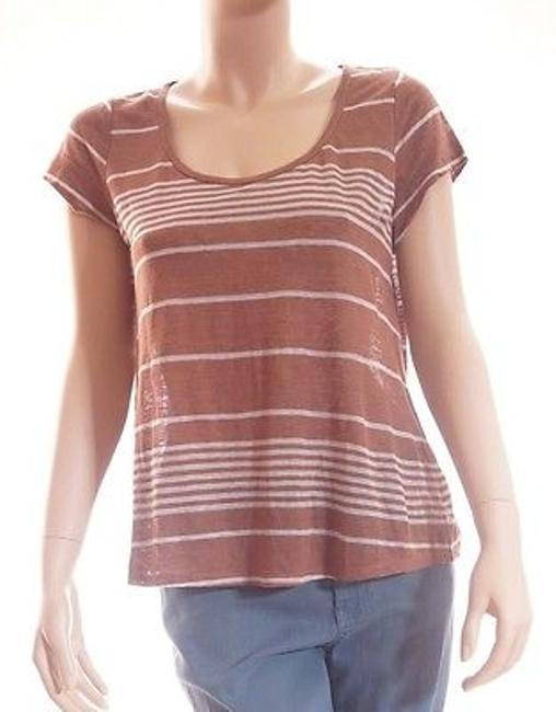 cbfaaf88cad1b good Joie Womens Brown White Linen Striped Scoop Neck Short Sleeve Top T  Shirt