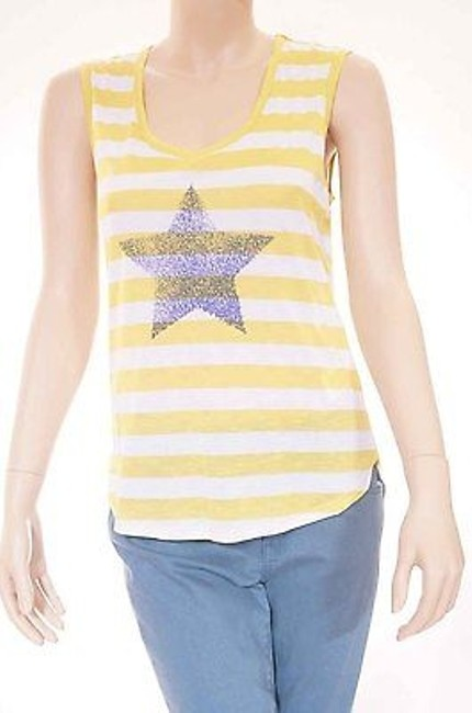 Preload https://img-static.tradesy.com/item/2389504/cc-california-womens-warm-olive-yellow-star-printed-striped-tank-top-0-0-650-650.jpg