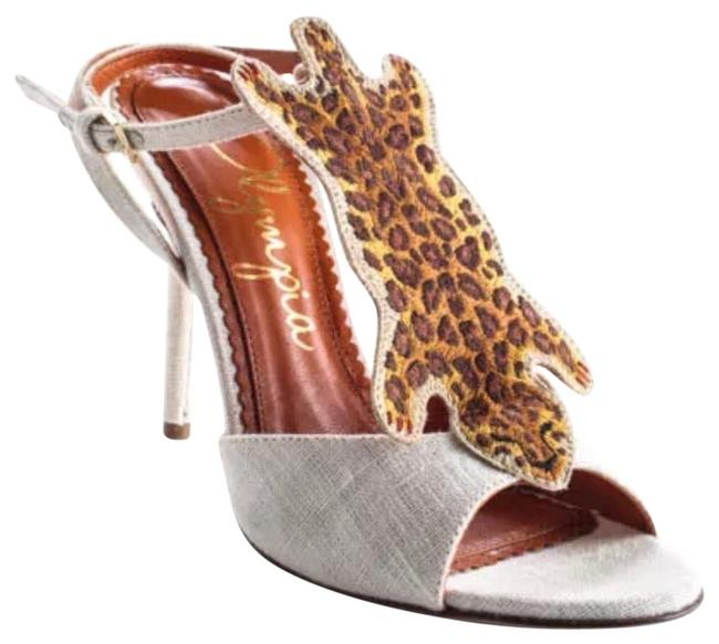 """Charlotte Olympia Ivory Brown Canvas """"african Queen """" Leopard Sandal 36 Pumps Size US 6 Regular (M, B) Charlotte Olympia Ivory Brown Canvas """"african Queen """" Leopard Sandal 36 Pumps Size US 6 Regular (M, B) Image 2"""
