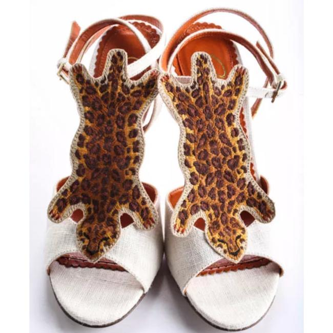 """Charlotte Olympia Ivory Brown Canvas """"african Queen """" Leopard Sandal 36 Pumps Size US 6 Regular (M, B) Charlotte Olympia Ivory Brown Canvas """"african Queen """" Leopard Sandal 36 Pumps Size US 6 Regular (M, B) Image 3"""