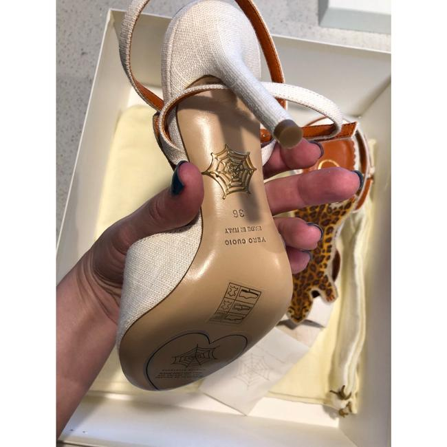 """Charlotte Olympia Ivory Brown Canvas """"african Queen """" Leopard Sandal 36 Pumps Size US 6 Regular (M, B) Charlotte Olympia Ivory Brown Canvas """"african Queen """" Leopard Sandal 36 Pumps Size US 6 Regular (M, B) Image 9"""