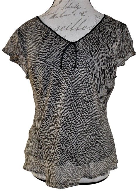 Item - Black Brown Beige Abstract Print Lined V-neck Loose Silk Blouse Size 12 (L)