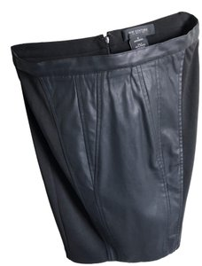 MM Couture Classic Like Leather Tencel Skirt Black