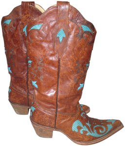Corral Boots Cowgirl Western Vintage Brown and Turquoise Blue Boots