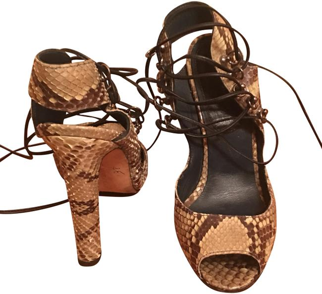 Item - Beige and Brown Exotic Snakeskin Pumps Size EU 37 (Approx. US 7) Narrow (Aa, N)