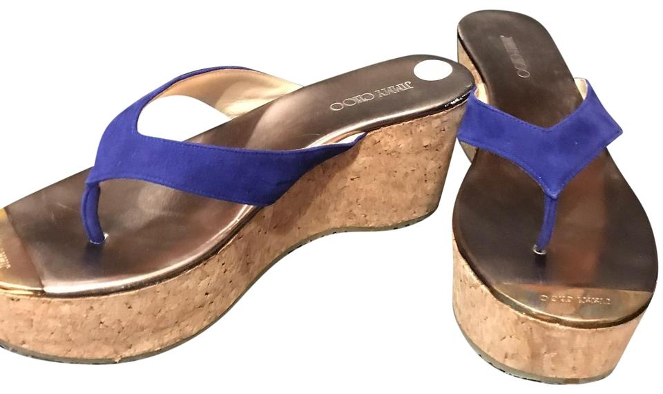 4a1007834 Jimmy Choo Bright Royal Navy Blue Suede with Golden Logo Toe Plate Thong  Sandals Wedges