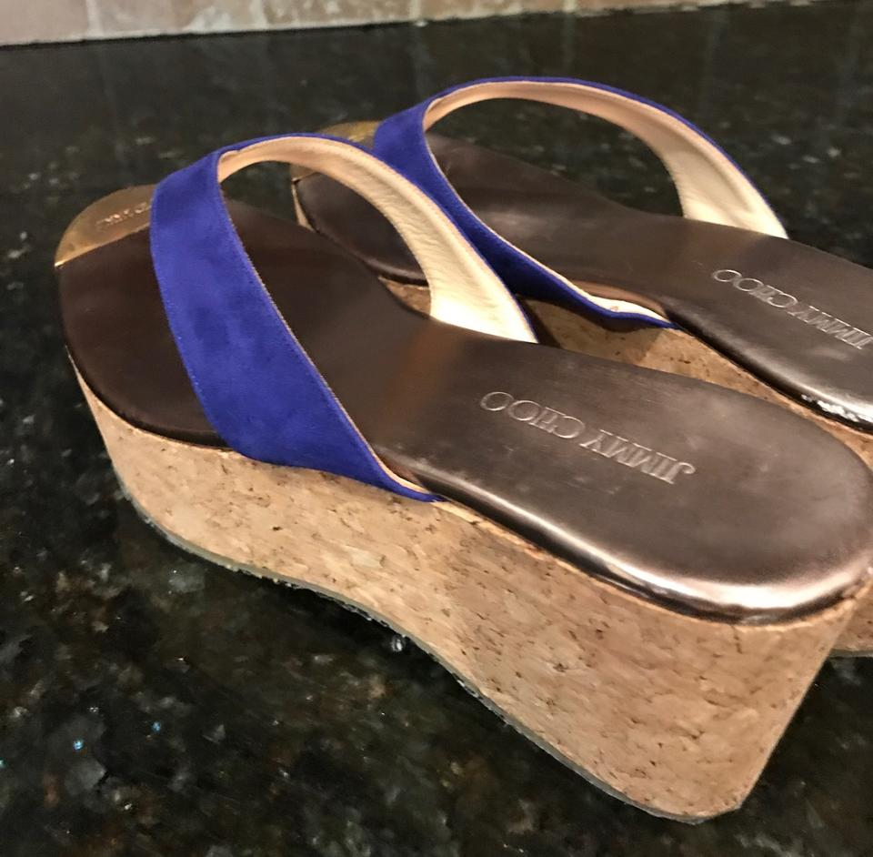 8ed7a4f60 Jimmy Choo Bright Royal Navy Blue Suede With Golden Jimmy Choo Logo Toe  Plate Wedges Image. 123456789101112