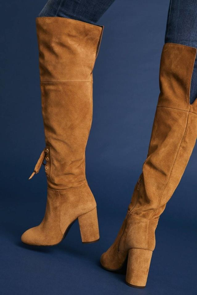 Anthropologie Camel Elysess Over the knee Lace up BootsBooties Size US 5.5 Regular (M, B)