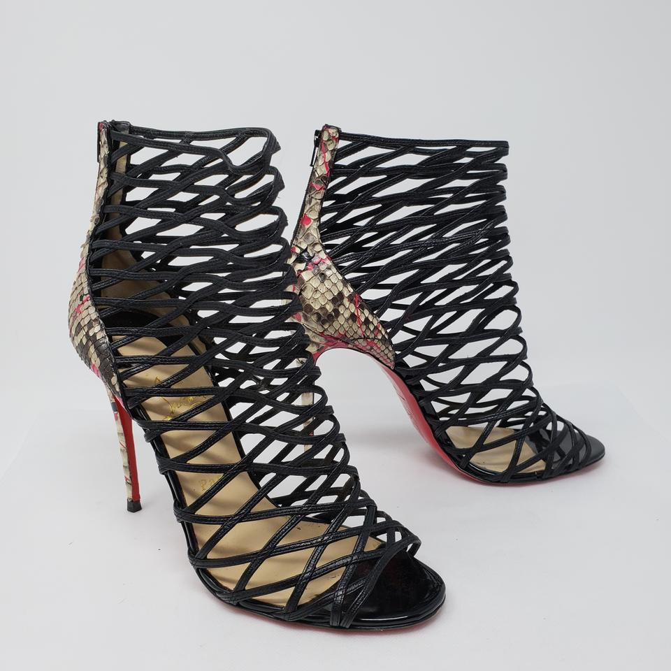f3d29785008 Christian Louboutin Black Leather Mille Cinque Snakeskin Cage Sandals Size  EU 41 (Approx. US 11) Regular (M, B) 63% off retail
