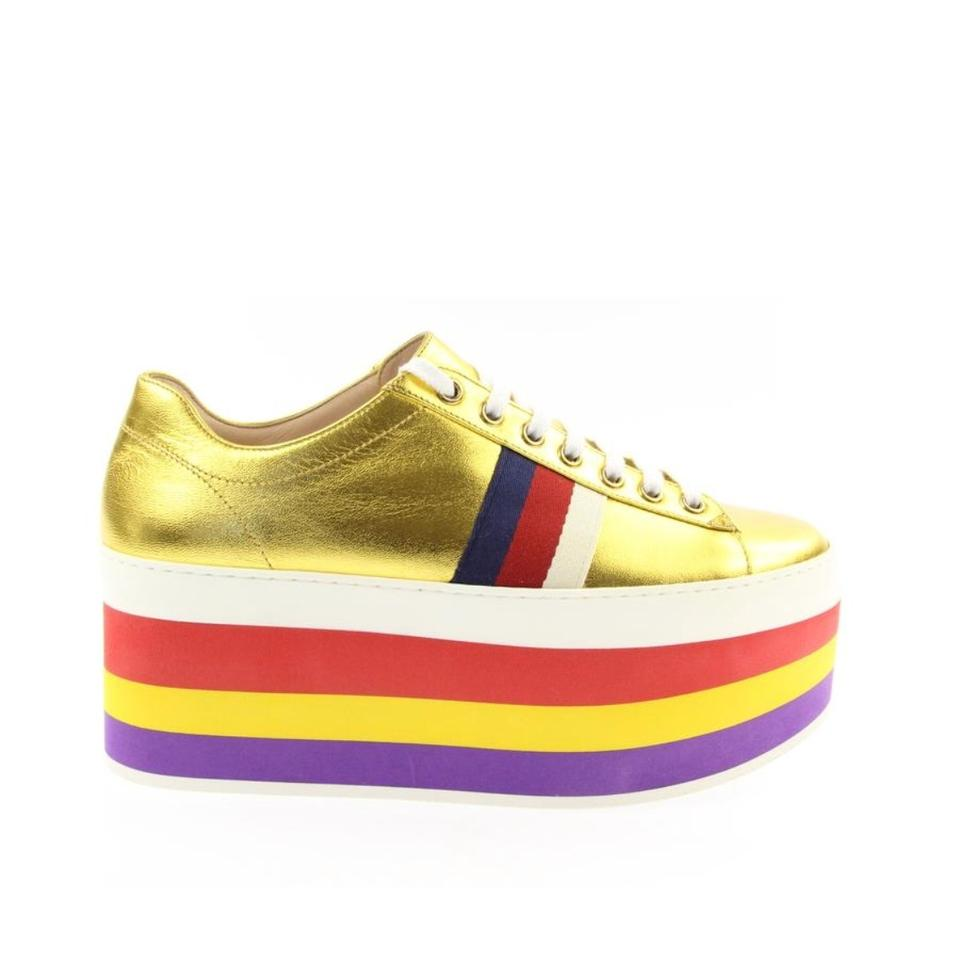 18e4bffb924 Gucci Gold Metallic Leather Sneaker Platforms Sneakers Size US 7.5 ...