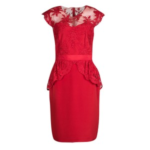 ed0f9406 Marchesa Notte short dress Red Embroidered Lace Peplum Silk Polyester on  Tradesy