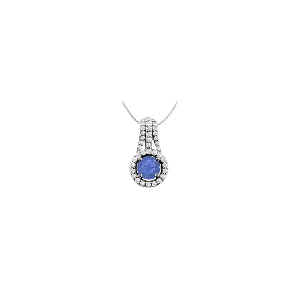 532d6b59d3a9cc Blue Cubic Zirconia and Created Sapphire Pendant In 925 Sterling Silver 1.0  Necklace