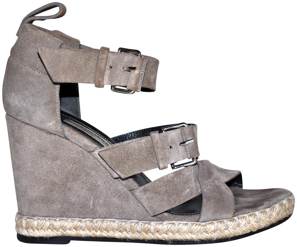 a89dd0a747073 Balenciaga Beige Double Buckle Strappy Taupe Suede Espadrille Wedges Size  EU 37 (Approx. US 7) Regular (M, B) 89% off retail