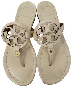 e591b2172 Tory Burch Miller Reva Logo Gold Hardware Textured White Sandals