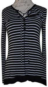 Ultra Flirt Stretchy Snaps Ties At Neck Top Black, White