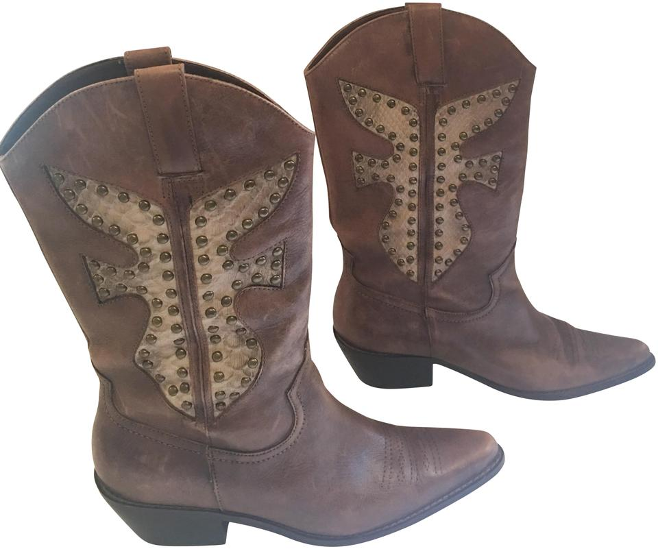 f9bbb9abbe1 Matisse Brown Studded Leather Western Boots/Booties Size US 8 Regular (M,  B) 72% off retail