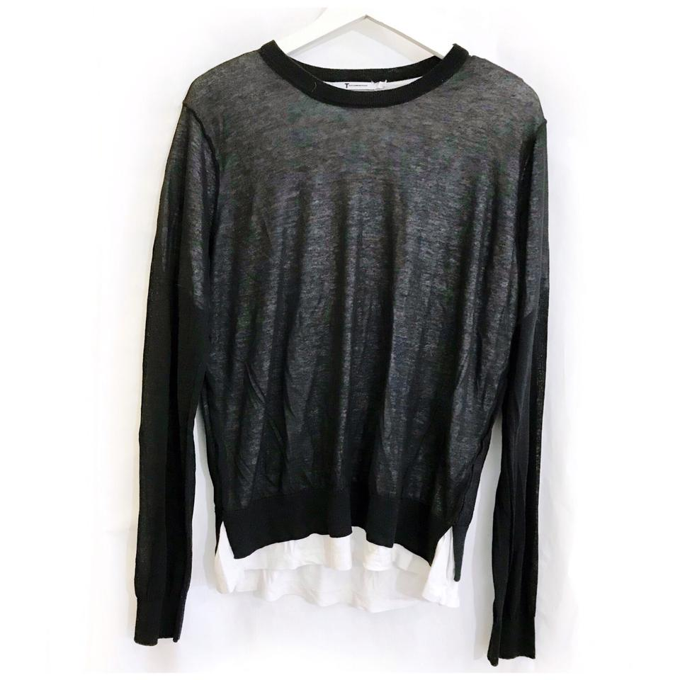T By Alexander Wang Black White Double Layer Long Sleeve Tee Shirt