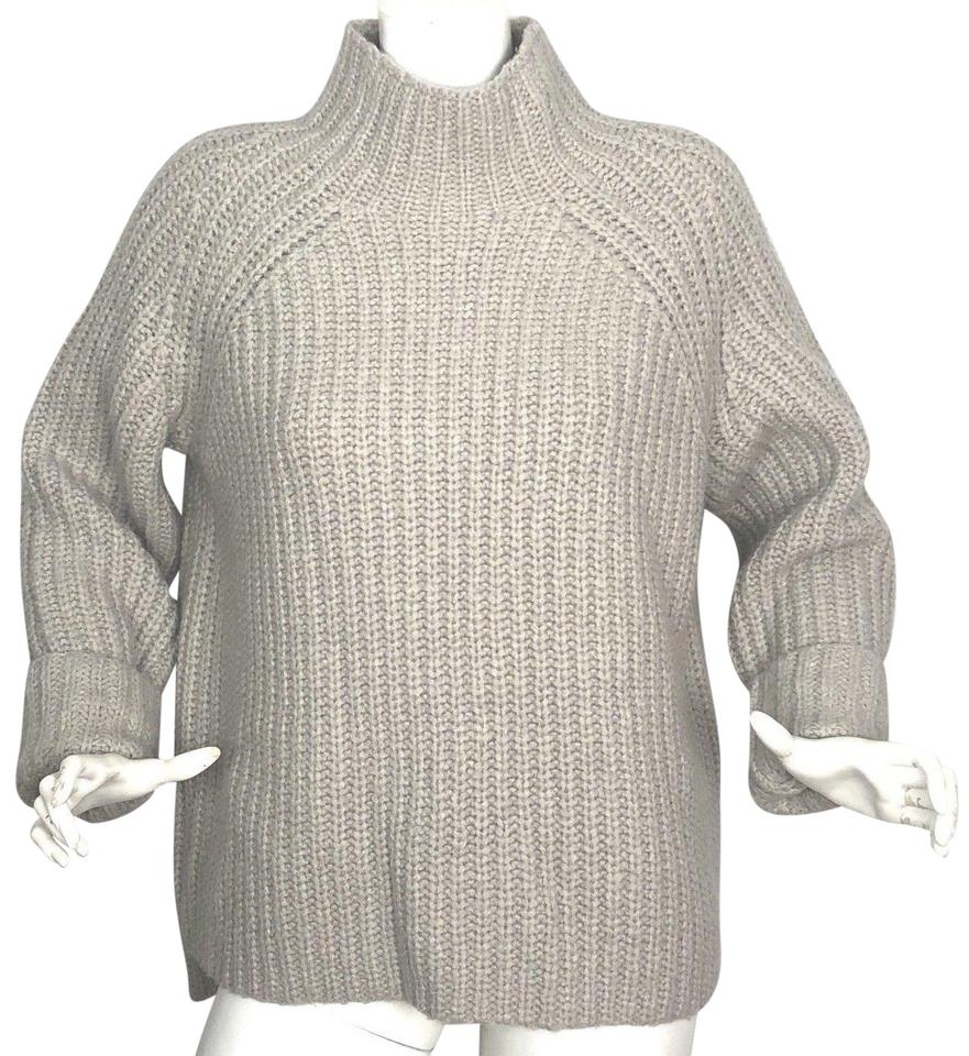 9a6d47b61e24d Theory Rifonia Mockneck Knitted Wool Silk Cashmere Gray Beige Sweater