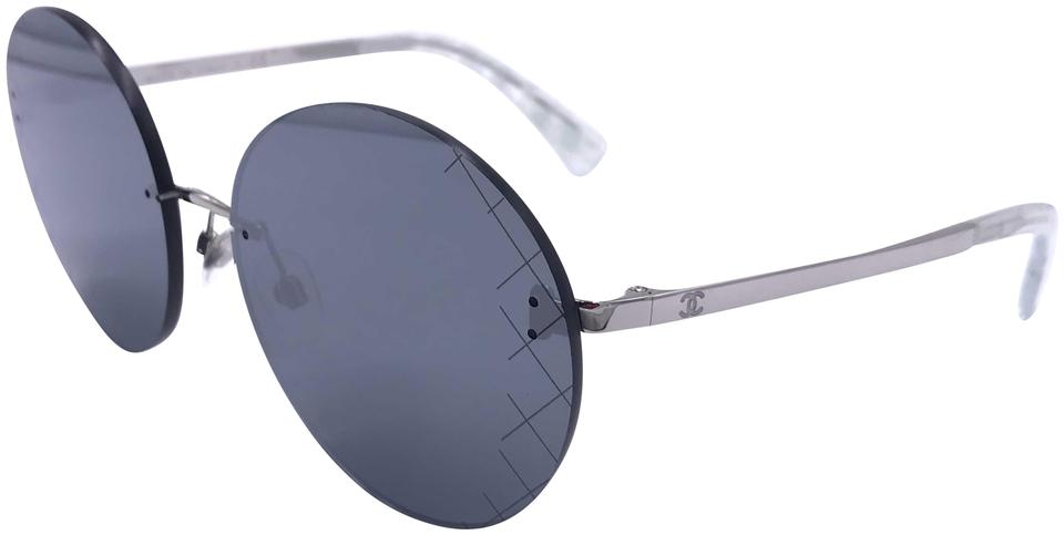 f1f9c47be2 Chanel Silver Mirror Round Runway Quilting 4216 C.124 6g Sunglasses ...