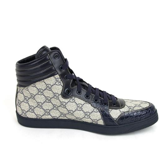Gucci Blue Supreme Gg High-top Sneaker W/Crocodile Trim 13.5g/14 D 243827 4703 Shoes