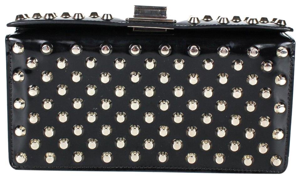Prada Corolle Rare Small Studded Clutch Black Patent Leather Shoulder Bag 6940b80d7bbfc