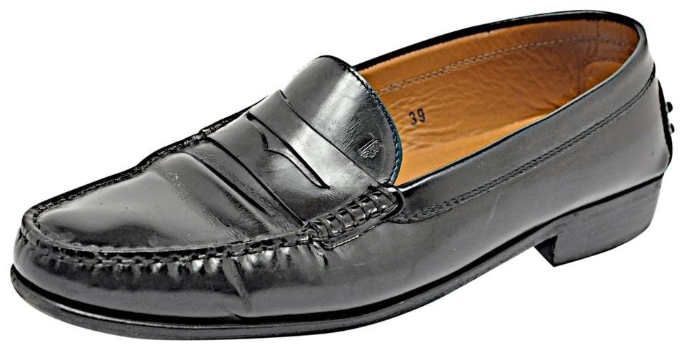 bf0aebb0163 Tod s Black Smooth Leather Penny Loafers W Rubber Pebble Rear Flats. Size  EU  39 (Approx.