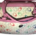 Coach Satchel in White signature with pink and different colored C's on the bag it is blue inside you can tell by the pictures