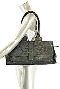 Jane August Distressed Leather Satchel in Green