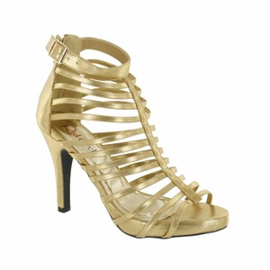 Red Circle Footwear Gladiator Strappy Gold Platforms