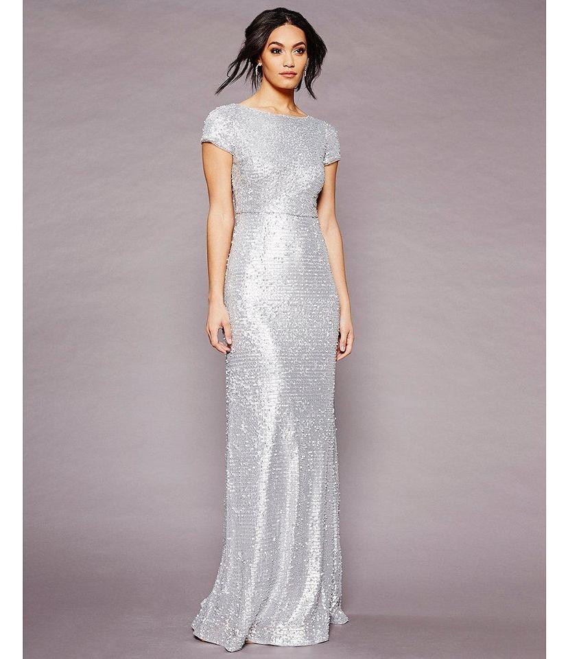 Adrianna Papell Silver Short Sleeve Sequin Gown Long Formal Dress ...