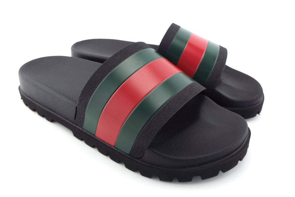 25bc74aa350b58 Gucci Black Signature Web Stripe Men s Slide Rubber Sandal Uk9 Us10 Shoes