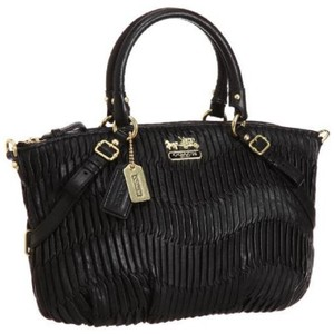 Coach Pleated Shoulder Limited Edition Italian 15942 Satchel in Black