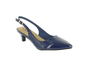 Red Circle Footwear Pointy Slingback Navy Pumps